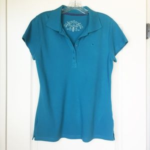 Women's polo shirt aqua teal blue small